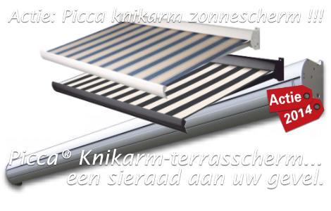 Zonwering actie 2014: Picca knikarm terras-zonnescherm.